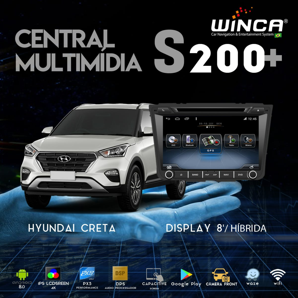 Central Multimidia Hyundai Creta Winca S200+  Tela 8 pol - Waze Spotify - 2 cameras Ré + Frontal - TV  Digital via APP - GPS Integrado -  Bluetooth - 2 entradas USB - Android 9.0
