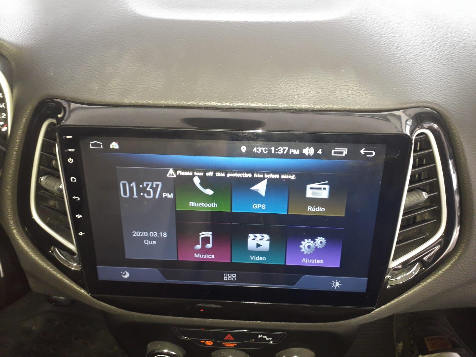 Central Multimidia Jeep Compass 2017/2019 -  Aikon ATOM X10 - Tela 10 pol - Waze Spotify - 2 cameras Ré + Frontal - TV  Digital - GPS Integrado -  Bluetooth - 2 entradas USB - Android 8