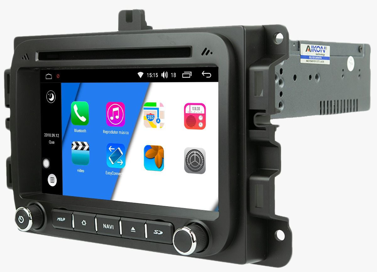 Central Multimidia JEEP Renagde / FIAT Toro  Aikon - X-Droid 7 Polegadas + TV FUll -  Espelhamento DVD GPS Mapa Bluetooth MP3 USB Ipod SD Card Câmera Ré + Frontal Grátis