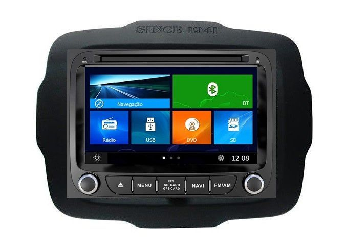 Central Multimidia  Jeep Renegade 5.0 -  DVD GPS Mapa Bluetooth MP3 USB TV Digital Ipod SD Card Câmera de Ré Grátis