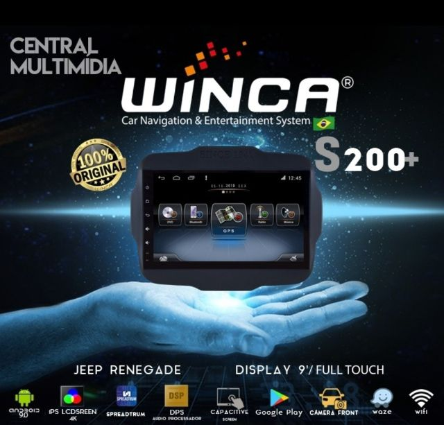 Central Multimidia Jeep Renegade Winca S200 OctaCore Tela 9 pol - Waze Spotify - 2 cameras Ré + Frontal - TV  Digital via APP - GPS Integrado -  Bluetooth - 2 entradas USB - Android 9.0