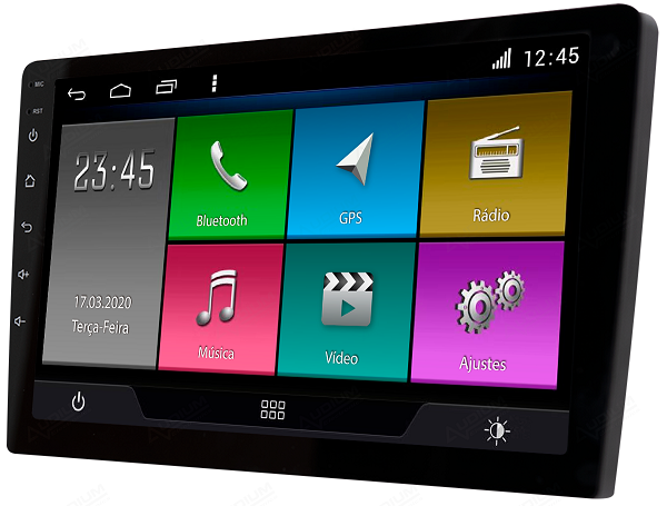 Central Multimidia Jeep Renegede PCD -  Aikon ATOM X9 - Tela 9 pol - Waze Spotify - 2 cameras Ré + Frontal - TV  Digital - GPS Integrado -  Bluetooth - 2 entradas USB - Android 8.1