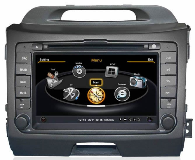 Central Multimidia Kia Sportage 2011 2012 2013 2014 2015 Com DVD GPS Mapa Bluetooth MP3 USB Ipod SD Card Câmera Ré Grátis - Winca