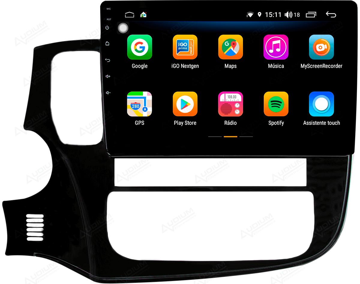 Central Multimidia Mitsubishi Outlander 2014/2019 -  Aikon ATOM X10 - Tela 10 pol - Waze Spotify - 2 cameras Ré + Frontal - TV  Digital - GPS Integrado -  Bluetooth - 2 entradas USB - Android 8.1