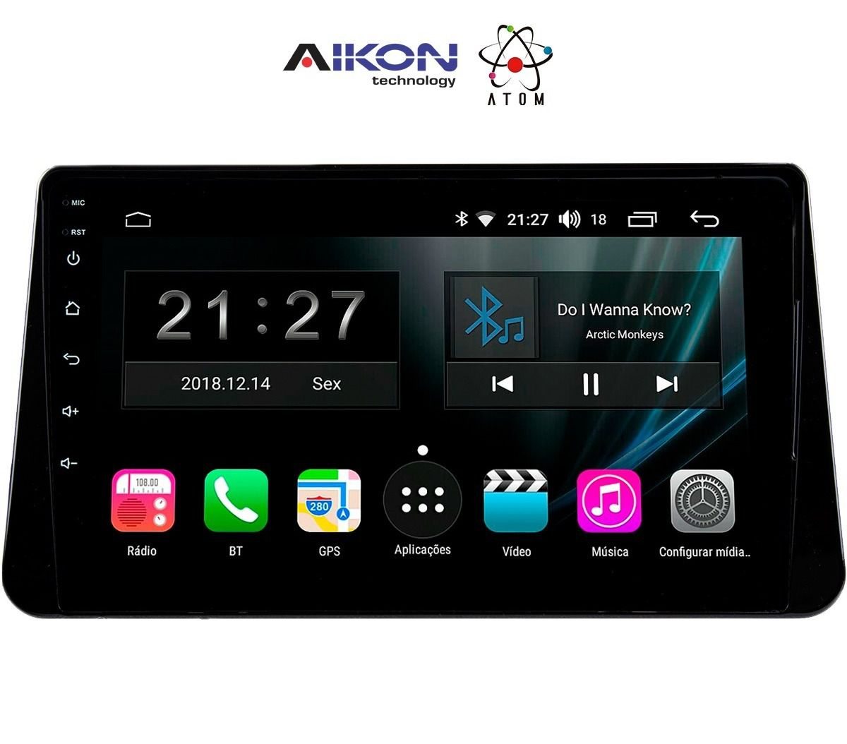 Central Multimidia Nissan Kicks Aikon ATOM- Tela Tela 8 Polegadas - TV Digital FULL HD - GPS Bluetooth MP3 USB - 2 Câmera de Ré + Frontal - Sistema Android 8.1