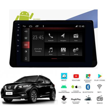 Central Multimidia Nissan KICKS -  Aikon ATOM X10 - Tela 10 pol - Waze Spotify - 2 cameras Ré + Frontal - TV  Digital - GPS Integrado -  Bluetooth - 2 entradas USB - Android 8.1