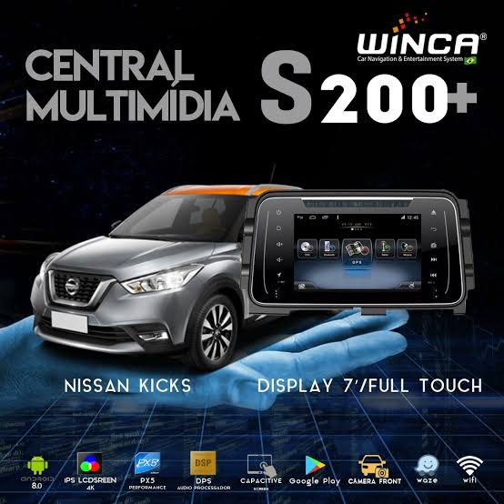 Central Multimidia Nissan Kicks  - Winca Tela 8 polegas Android    Com DVD GPS Mapa Bluetooth MP3 USB Ipod SD Card Câmera de Ré Grátis