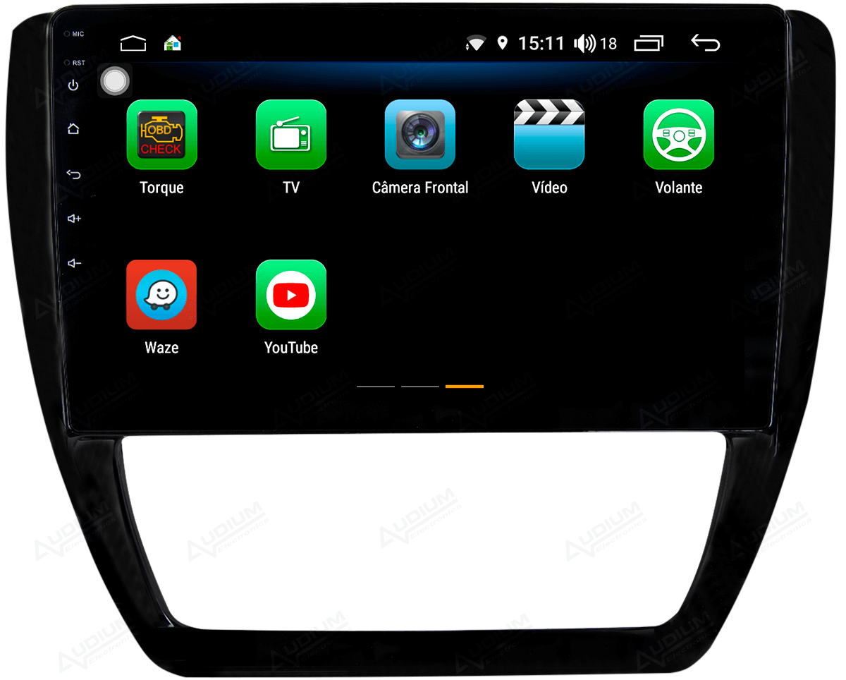 Central Multimidia Nissan VW JETTA 2011/2017 -  Aikon ATOM X10 - Tela 10 pol - Waze Spotify - 2 cameras Ré + Frontal - TV  Digital - GPS Integrado -  Bluetooth - 2 entradas USB - Android 8.1
