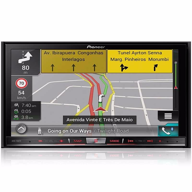 """Central Multimidia Pioneer 2 Din AVIC-F80TV Tela 7"""" Polegadas Com Bluetooth, MP3, GPS, TV Digital, Conexão iPhone, Entrada SD, Mirrorlink, CarPlay, Entrada USB, Mixtrax, TouchScreen + Câmera de Ré"""