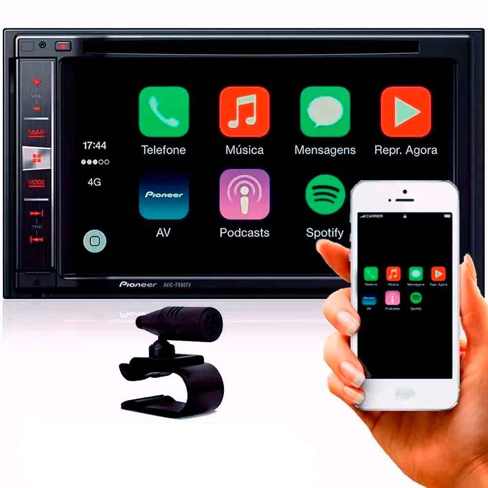 "Central Multimidia Pioneer 2 Din AVIC-F980TV Tela 6,2"" Polegadas Com Mixtrax, MP3, GPS, TV Digital, Mirrorlink, CarPlay, Entrada USB, Bluetooth, TouchScreen + Câmera de Ré"