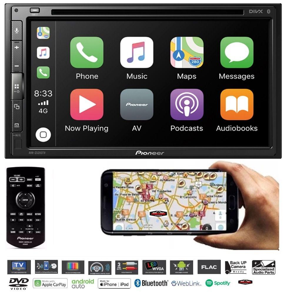 Central Multimidia Renegade 7 polegadas  - Pioneer AVH A5280TV+ Moldura 2 Din -  DVD GPS Wase Mapa Bluetooth MP3 USB Ipod SD Card Câmera de Ré Grátis