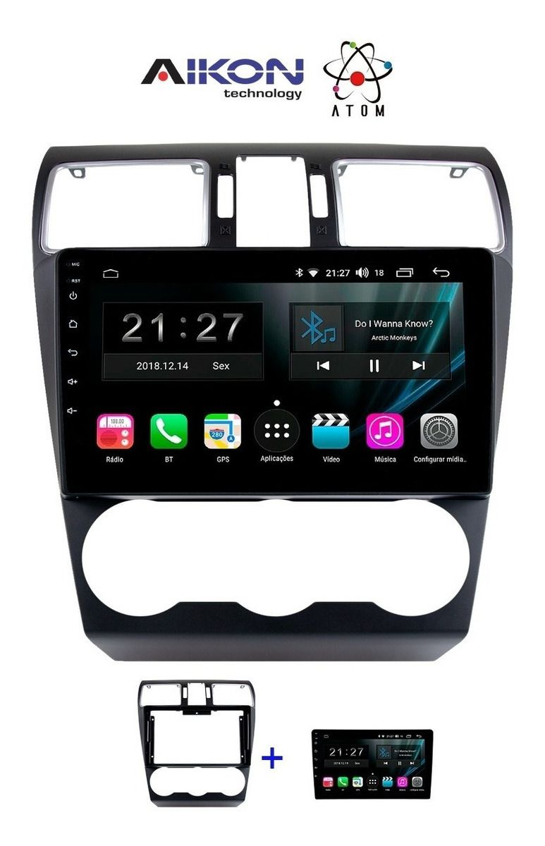 Central Multimidia Subaru Forester 2014 a 2019 - Aikon Atom Tela 9 Polegadas - TV Digital GPS Bluetooth MP3 USB - 2 Câmera de Ré + Frontal - Sistema Android 9.0