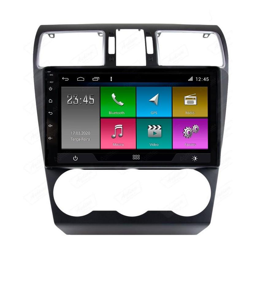 Central Multimidia Subaru Forester 2014 a 2019 - Aikon Atom Tela 9 Polegadas - GPS Bluetooth MP3 USB - 2 Câmera de Ré + Frontal - Sistema Android 8.1