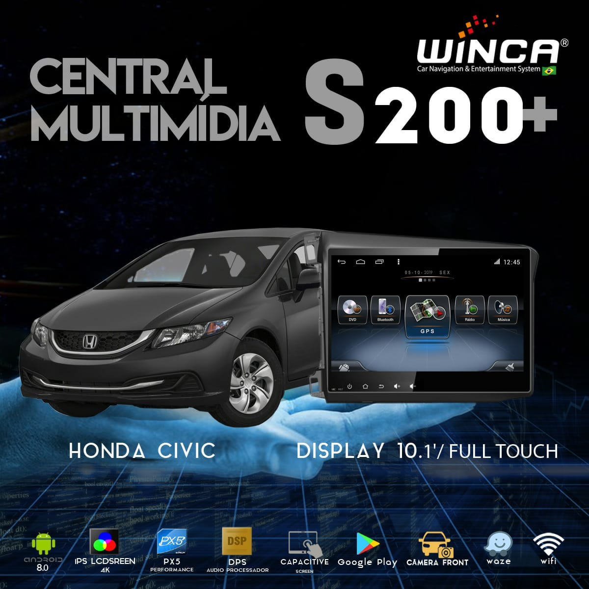 Central Multimidia Honda CIVIC 2012 a 2016 Winca Tela 9 polegas  - Waze Spotify youtube - 2 cameras Ré + Frontal - TV  Digital - GPS Integrado -  Bluetooth - 2 entradas USB - Android 9.0
