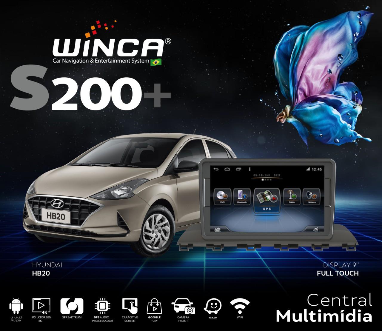 """Central Multimidia Hyundai HB20 - 2020/2021  - Winca Tela 9"""" S200  - Waze Spotify youtube - 2 cameras Ré + Frontal - TV  Digital via APP  - GPS Integrado -  Bluetooth - 2 entradas USB - Android 9."""