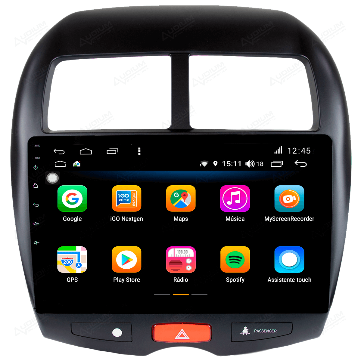 Central Multimidia Mistubishi ASX 2010 a 2019 -  Aikon ATOM X10 - Tela 10 pol - Waze Spotify - 2 cameras Ré + Frontal - TV  Digital - GPS Integrado -  Bluetooth - 2 entradas USB - Android 8
