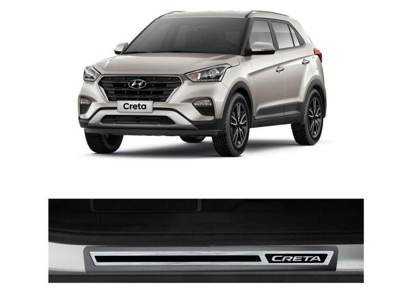 Jogo Soleira Premium Elegance Hyundai Creta - 4 Portas - Vinil + Resinada 8 Peças
