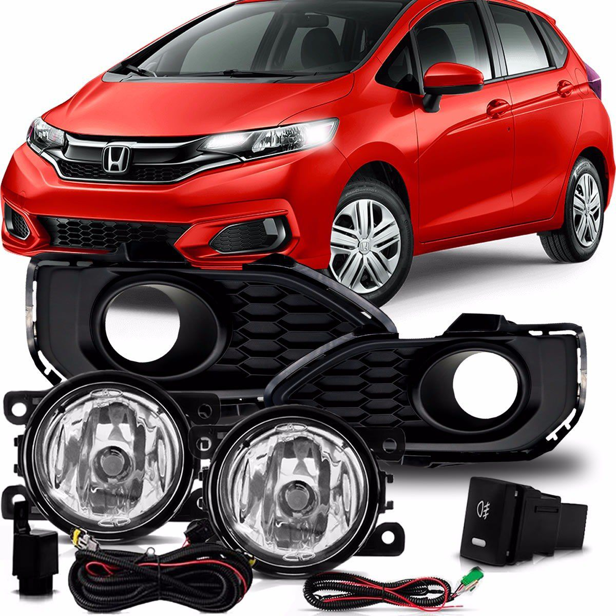 Kit Farol de Milha Neblina Honda New Fit 2018 2019 - Interruptor Modelo Original