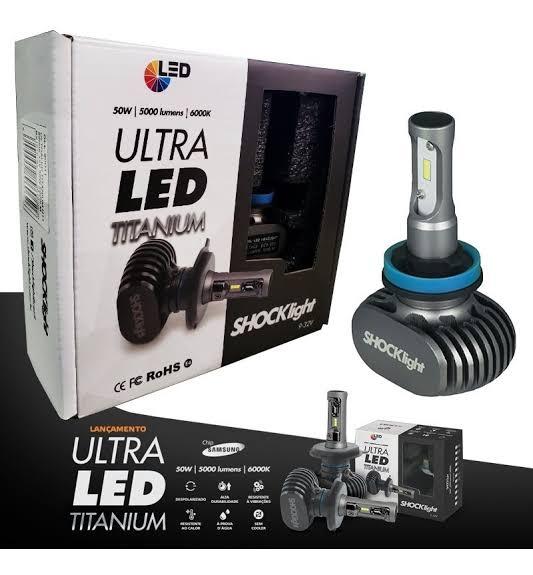 Kit Lampada Led Automotiva Ultra Led Shock Light TITANIUM Encaixe H11 H7 HB4