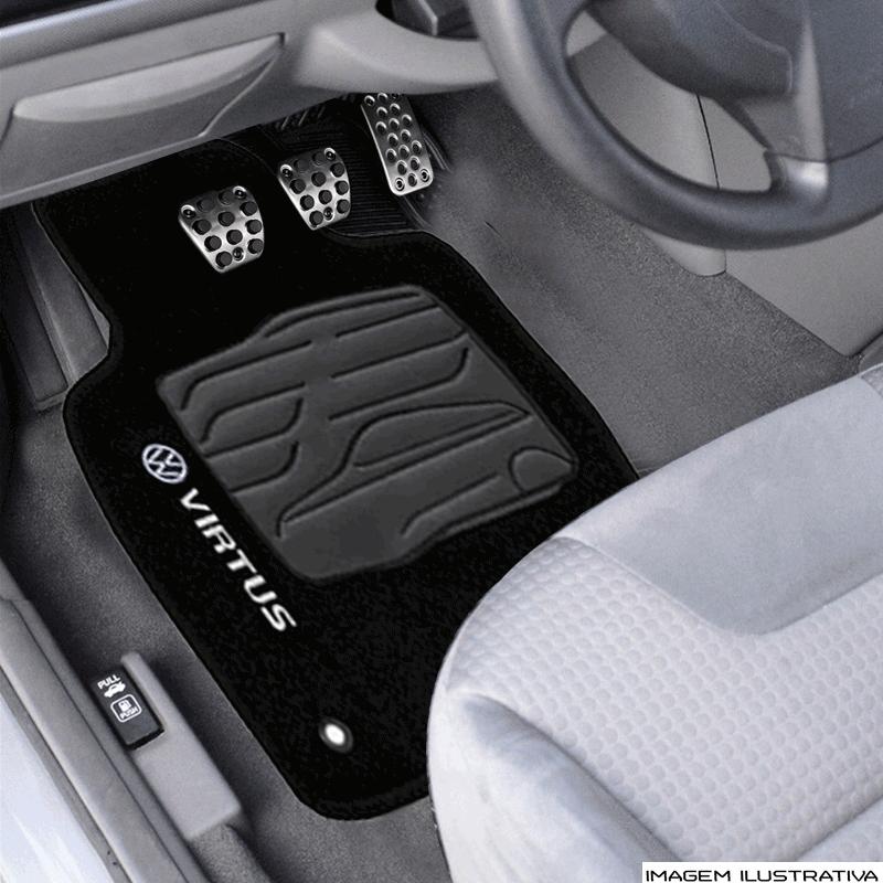 Tapete Volkswagem Virtus - Carpete Preto Bordado Logo