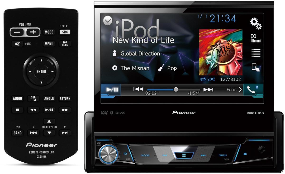 DVD Player Automotivo Retrátil Pioneer AVH-X7880TV Tela 7 Polegadas Com TV Digital Bluetooth Entrada USB Mixtrax + 2 Encosto de Cabeça AV + Câmera Ré Grátis
