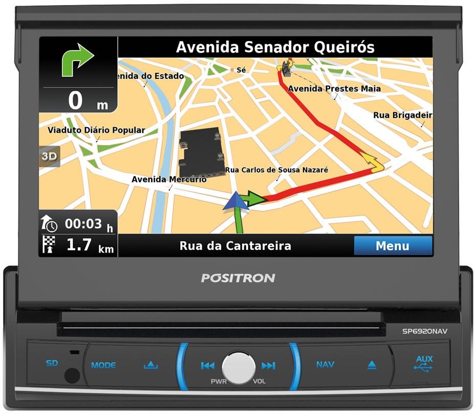 DVD Player Automotivo Retrátil Positron SP6920 NAV Tela 7 Polegadas Com TV Digital GPS Espelhamento Tela Bluetooth Entrada USB Entrada Auxiliar TouchScreen e MP3 + Câmera de Ré