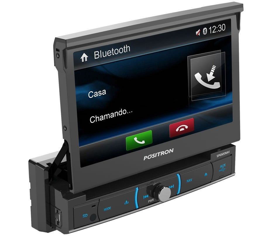 DVD Player Automotivo Retrátil Positron SP6920 NAV Tela 7 Polegadas Com TV Digital GPS Espelhamento Tela Bluetooth Entrada USB Entrada Auxiliar TouchScreen e MP3 + Câmera de Ré