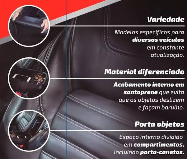 Encosto Descanso de Braço Apoio VW TCross - Grafite / Preto - Couro Ecológico Encaixe Porta Copos Console