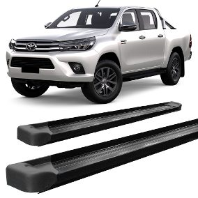 Estribo Lateral HILUX 2016 á 2018 SRV SRX SR STR Plataforma - Alumínio Preto - Cabine Dupla