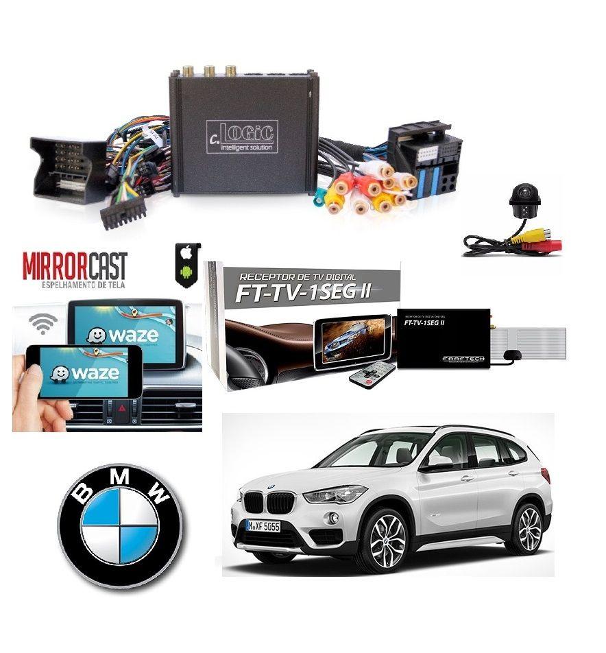 Interface Desbloqueio multimídia BMW X1 2016 Á 2017 + Tv Digital + Espelhamento sem Fio + Câmera de ré - V4-NBT
