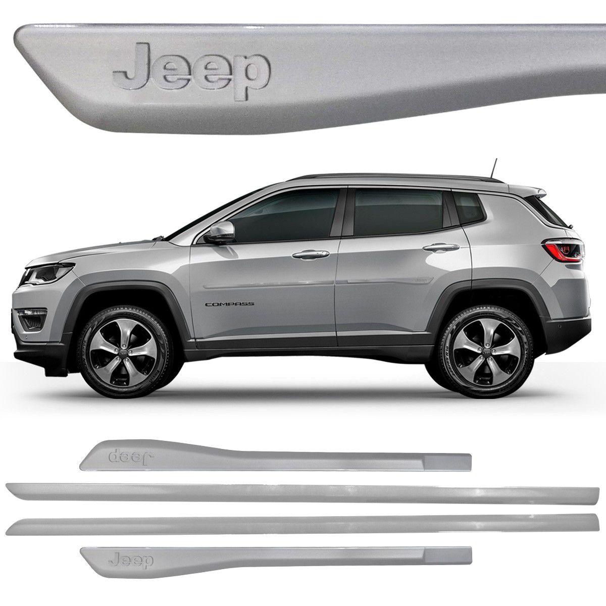 Jogo Friso Lateral Jeep Compass - Modelo Original - Preto - Branco - Cinca - PRODUTO INSTALADO