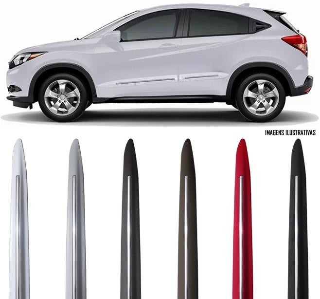 Jogo Friso Lateral Pintado Honda HRV 2015 á 2018 Modelo Original Com Friso Cromo - Cor Original