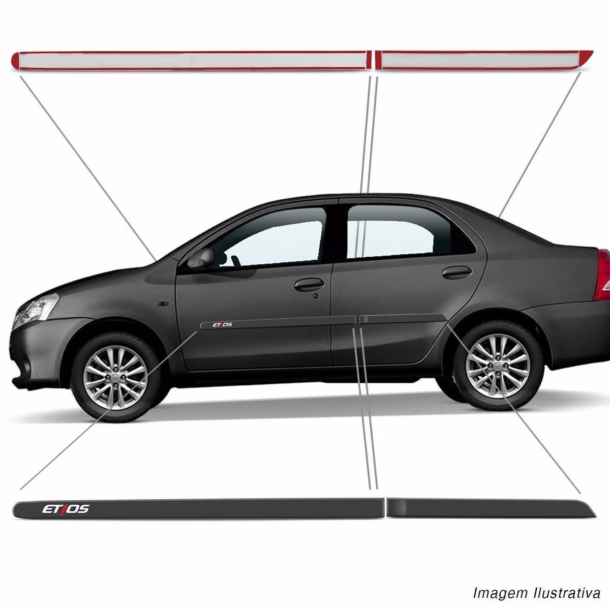 Jogo Friso Lateral Pintado Toyota Etios (Hatch e Sedan) 2012 á 2018  - Cor Original