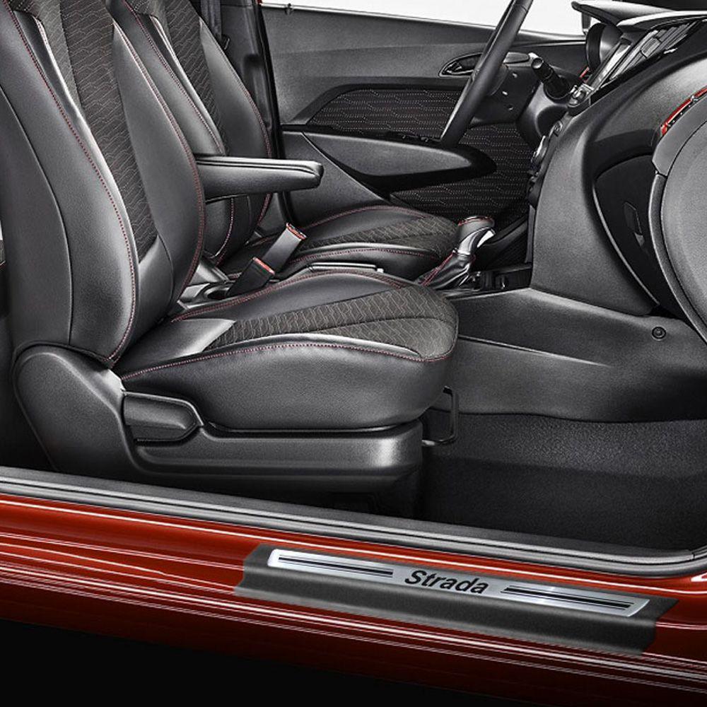 Jogo Soleira Premium Elegance Fiat Strada CD 2021 - 4 Portas - Vinil + Resinada