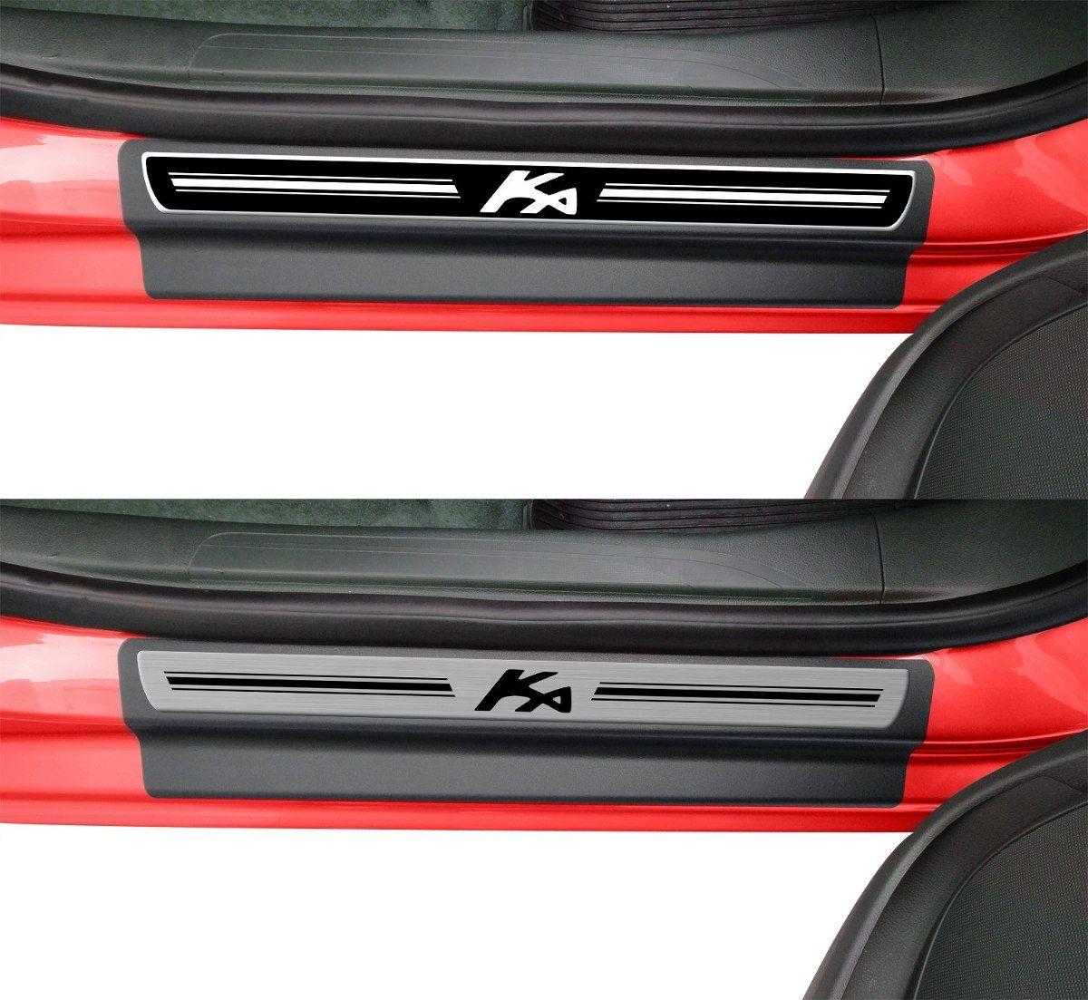 Jogo Soleira Premium Elegance Ford KA 2015 - 2018  - 4 Portas - Vinil + Resinada 8 Peças