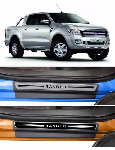 Jogo Soleira Premium Elegance Ford Ranger 2012 - 2018  - 4 Portas - Vinil + Resinada 8 Peças