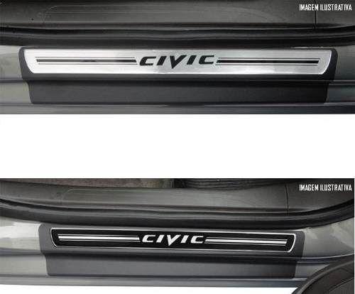 Jogo Soleira Premium Elegance Honda CITY 2009 -  2018 - 4 Portas - Vinil + Resinada 8 Peças