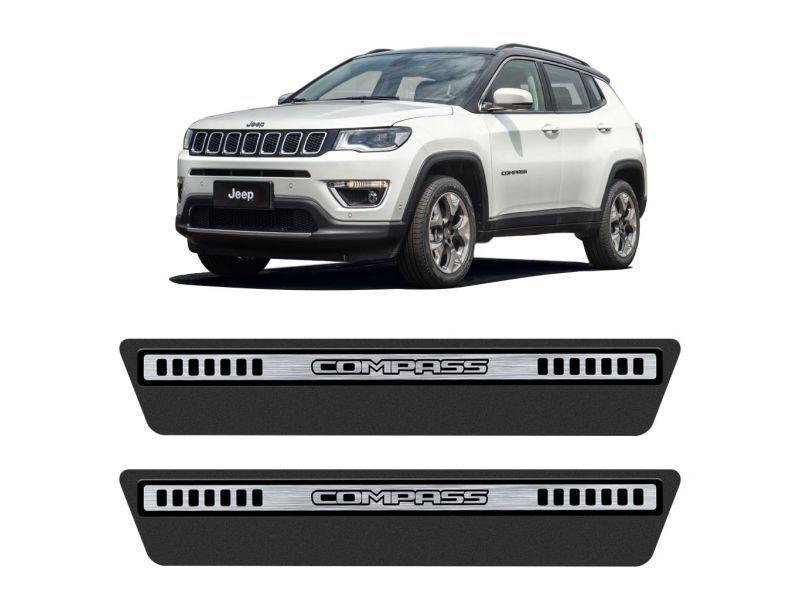 Jogo Soleira Premium Elegance Jeep Compas 2016 a 2020 - 4 Portas - Vinil + Resinada 8 Peças
