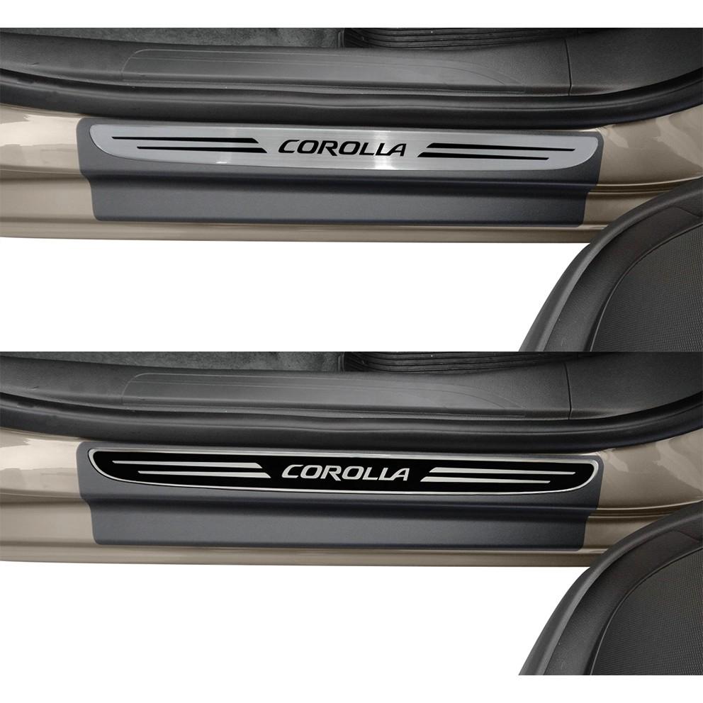 Jogo Soleira Premium Elegance Toyota Corolla 2015 á 2020 - 4 Portas - Vinil + Resinada 8 Peças