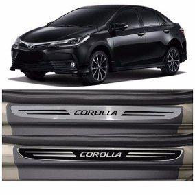 Jogo Soleira Premium Elegance Toyota Corolla 2015 á 2018 - 4 Portas - Vinil + Resinada 8 Peças