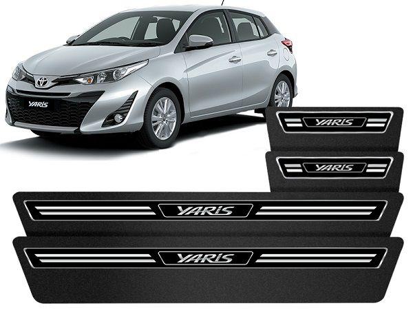 Jogo Soleira Premium Elegance Toyota Yaris   - 4 Portas - Vinil + Resinada 8 Peças