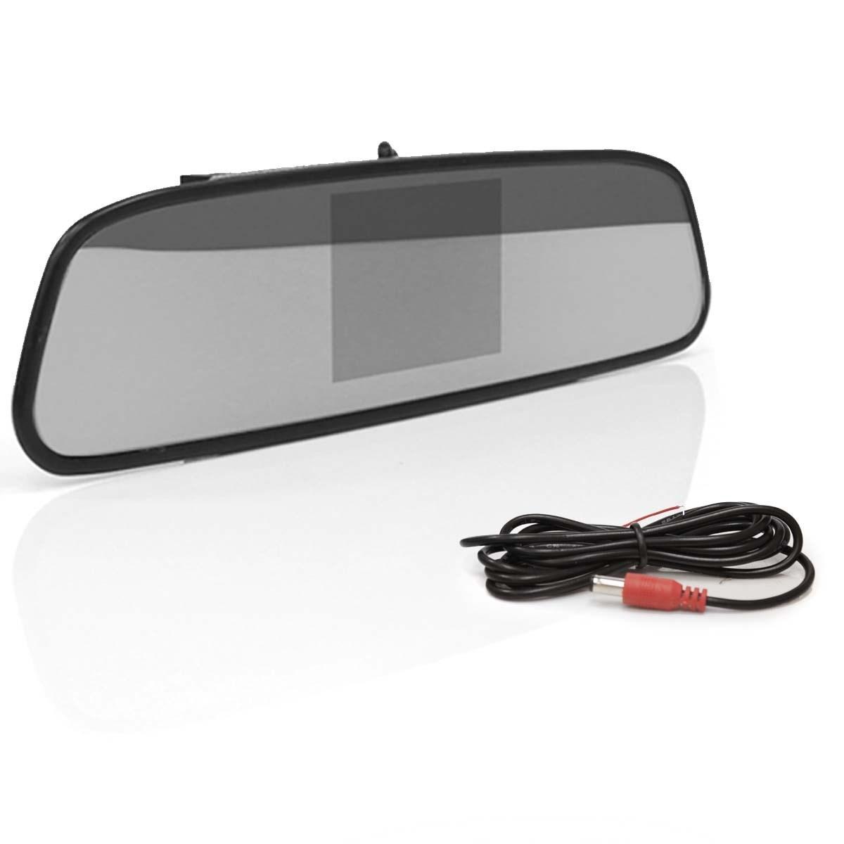 Kit Espelho Retrovisor c/ Monitor Tela LCD 4.3 + Câmera Ré + Sensor Estacionamento AV
