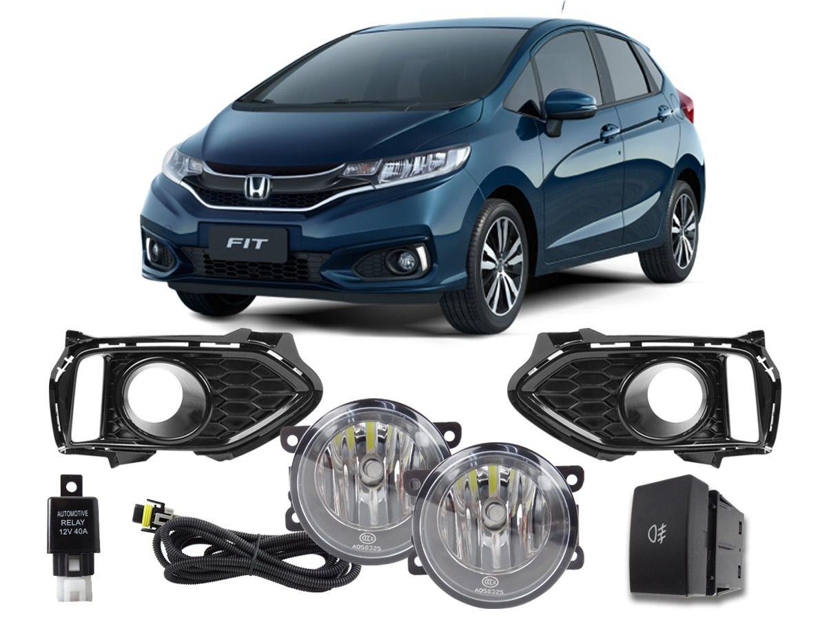 Kit Farol de Milha Neblina Honda New Fit 2018 a 2020 c/ LUZ DIURNA DRL DE FABRICA  - Interruptor Modelo Original