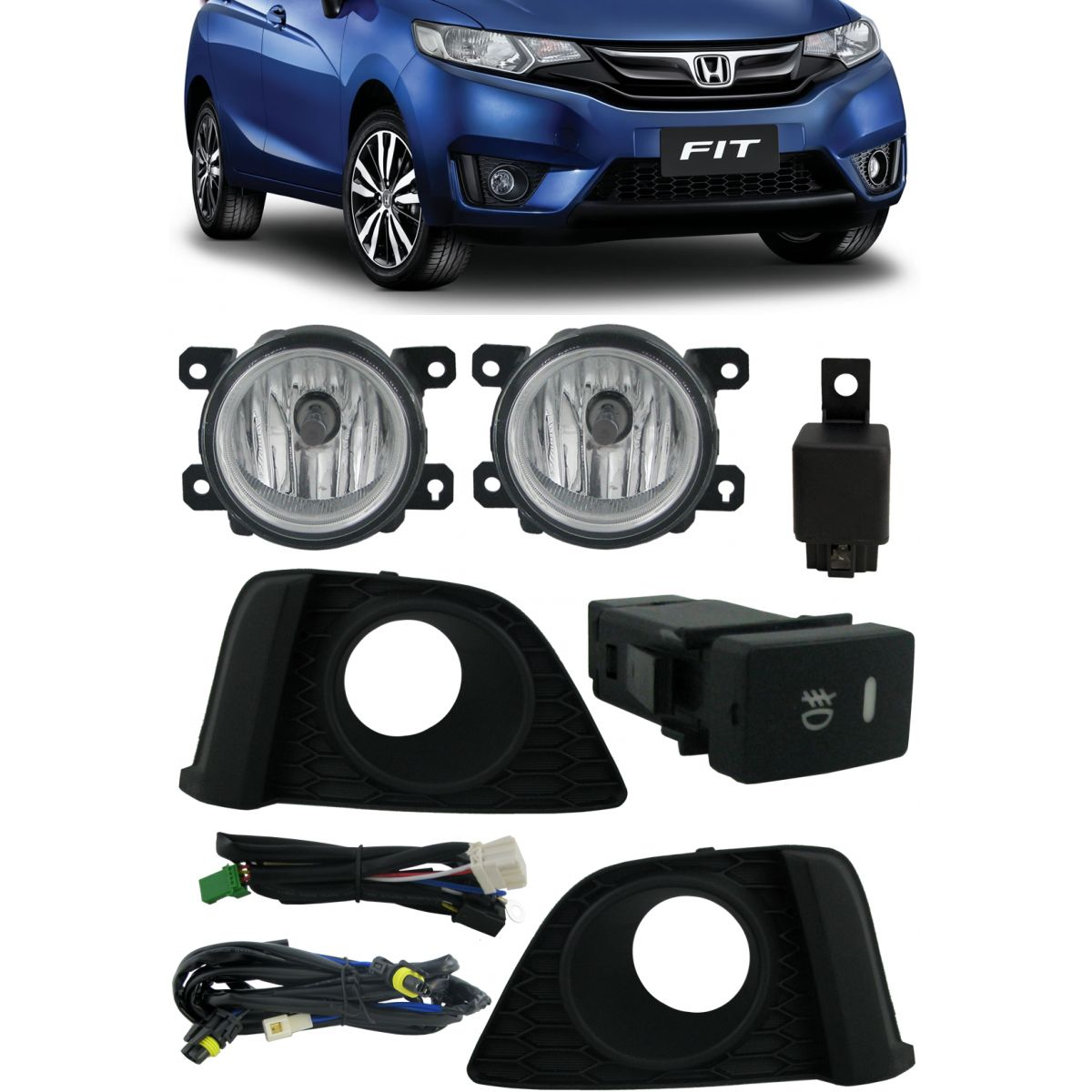 Kit Farol de Milha Neblina Honda New Fit 2014 á 2017 - Interruptor Modelo Original
