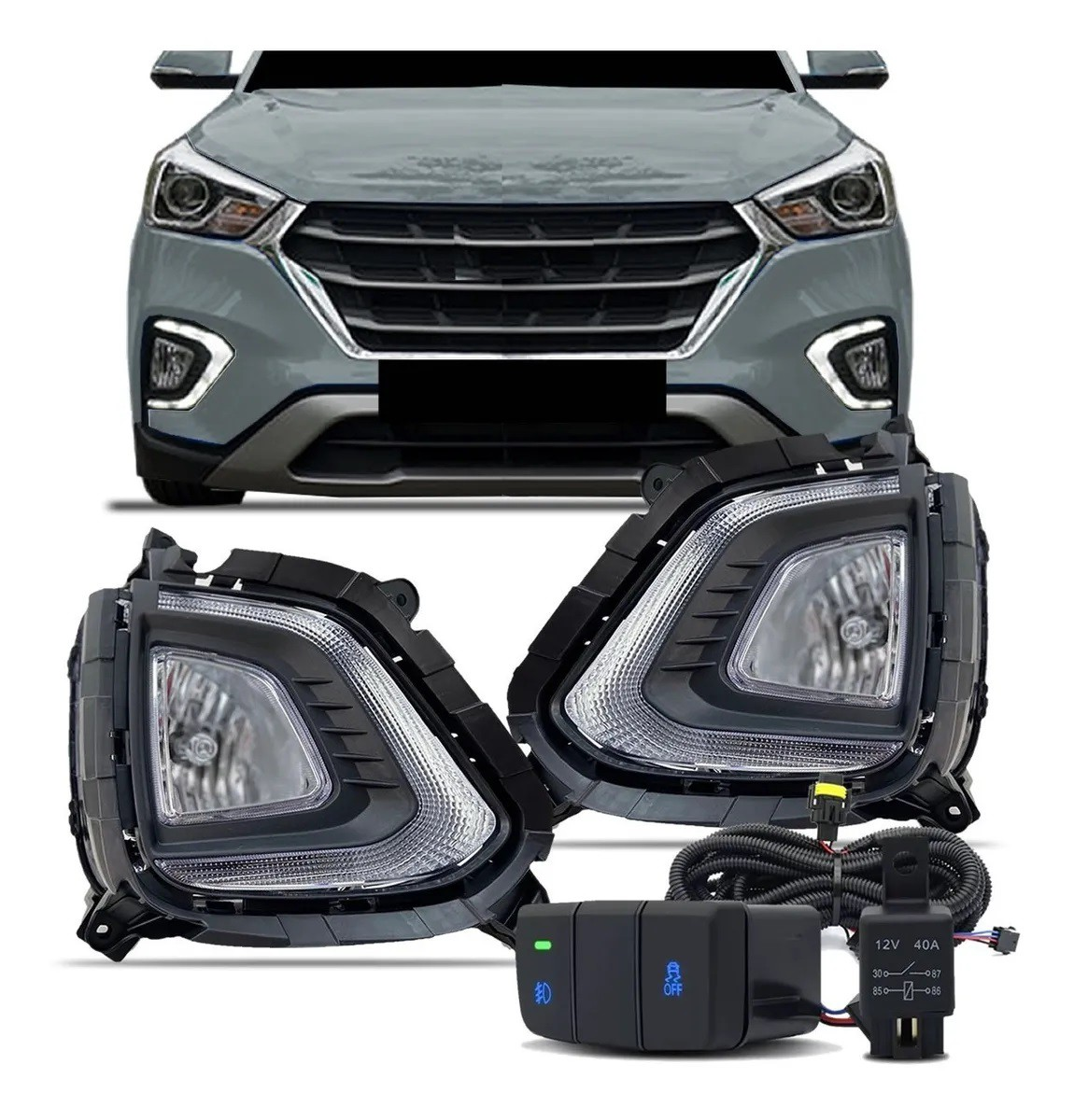 Kit Farol de Milha Neblina Hyundai Creta 2020 2021 - Interrup Original + Luz Diurna DRL + Led Pisca Sequencial