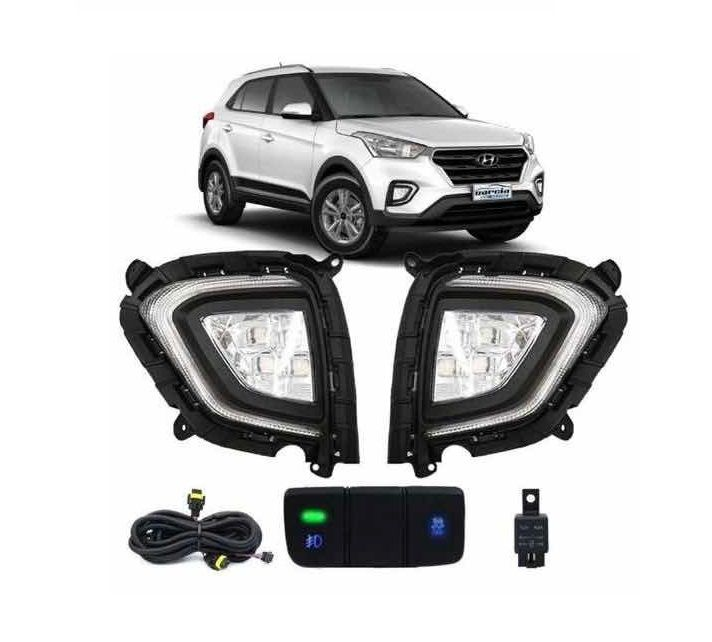 Kit Farol de Milha Neblina Hyundai Creta 2020 2021 - Interrup Original + FULL LED + Led Pisca Sequencial