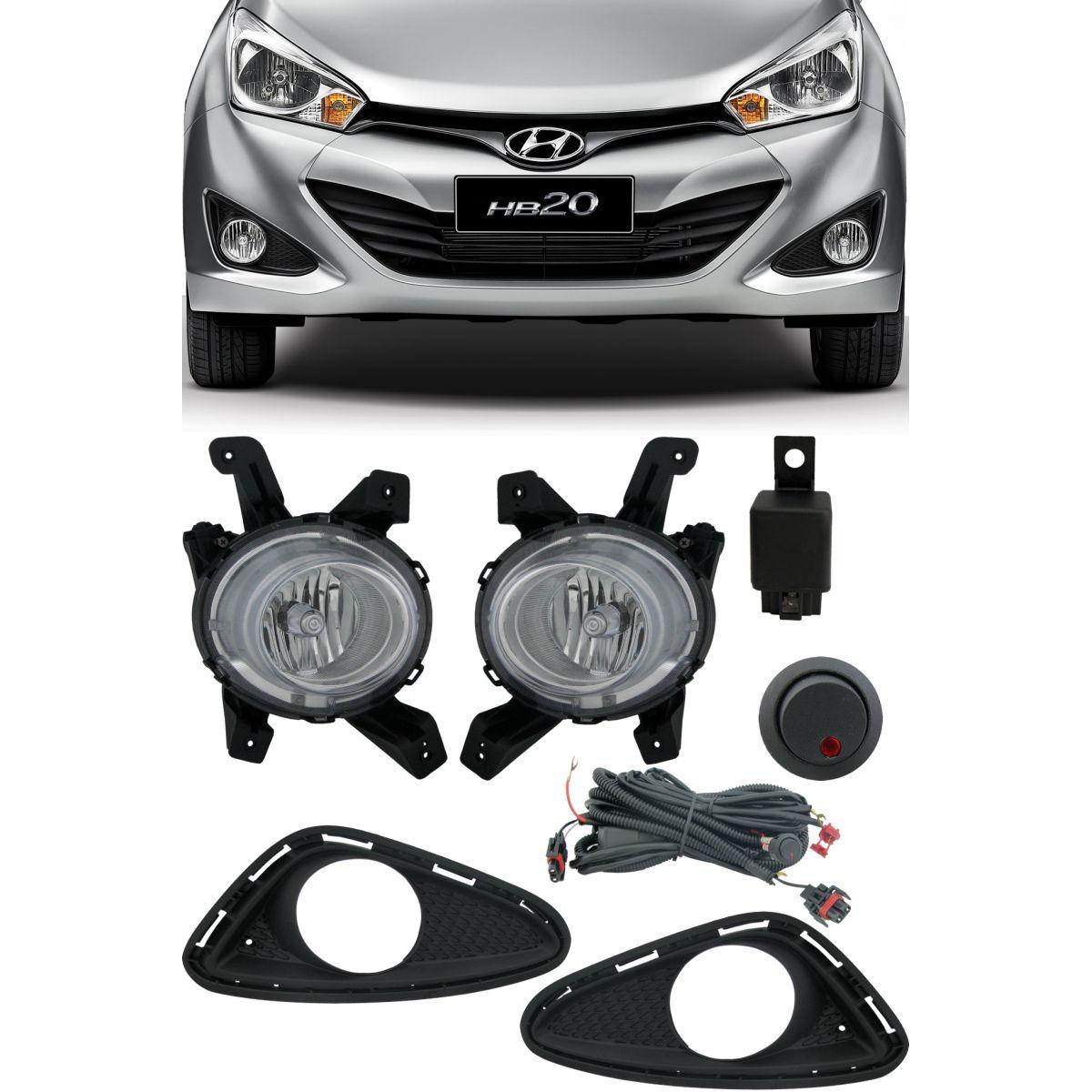Kit Farol de Milha Neblina Hyundai HB20 2012 á 2015 com Interruptor Alternativo + Molduras