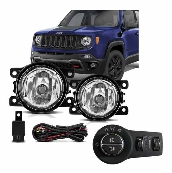 Kit Farol de Milha Neblina Jeep Renegade  2019 2020 - Interruptor Original Bi-partido  - PRODUTO INSTALADO