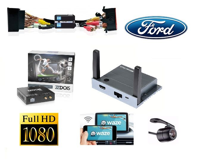 Kit Interface Desbloqueio de Tela Ford Ecosport 2018 Ranger Fusion Focus + Receptor Tv Digital + Espelhamento + Camera Ré