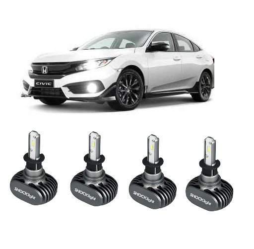 Kit Lampadas Honda Civic G10- LED ULtra Shock Ligth Titanium  -  2 kits Farol Baixo  e Milha